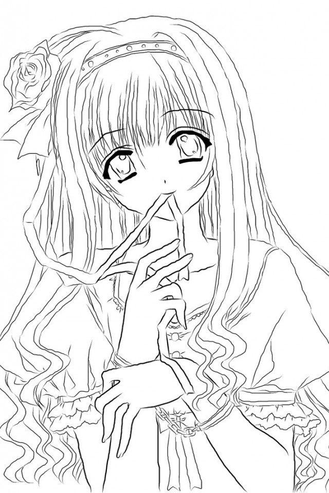 Tranh tô màu hình công chúa anime