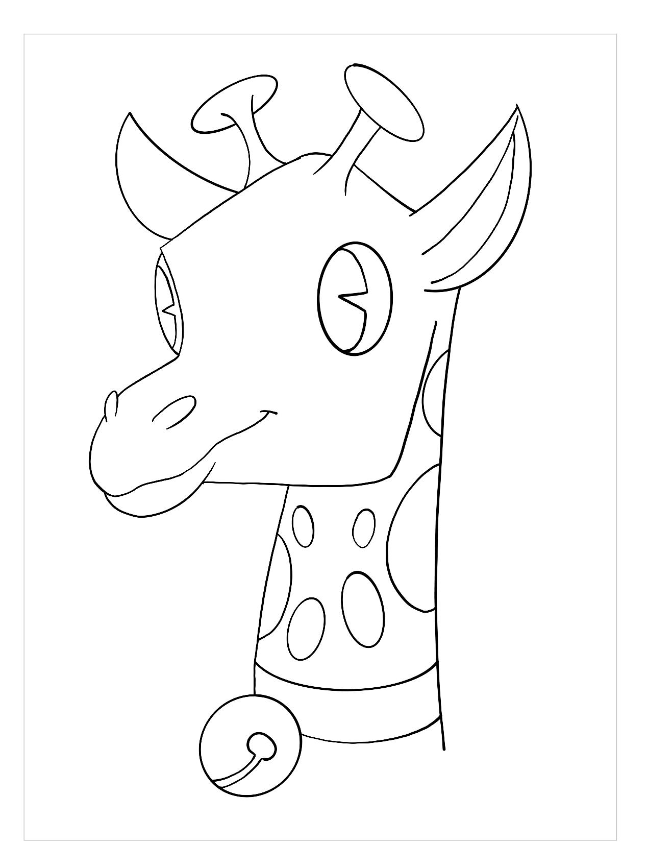 Tranh tô màu hình đầu hươu cao cổ