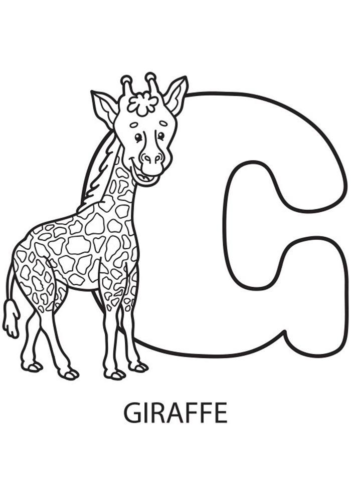Tranh tô màu hươu cao cổ và chữ G cho bé