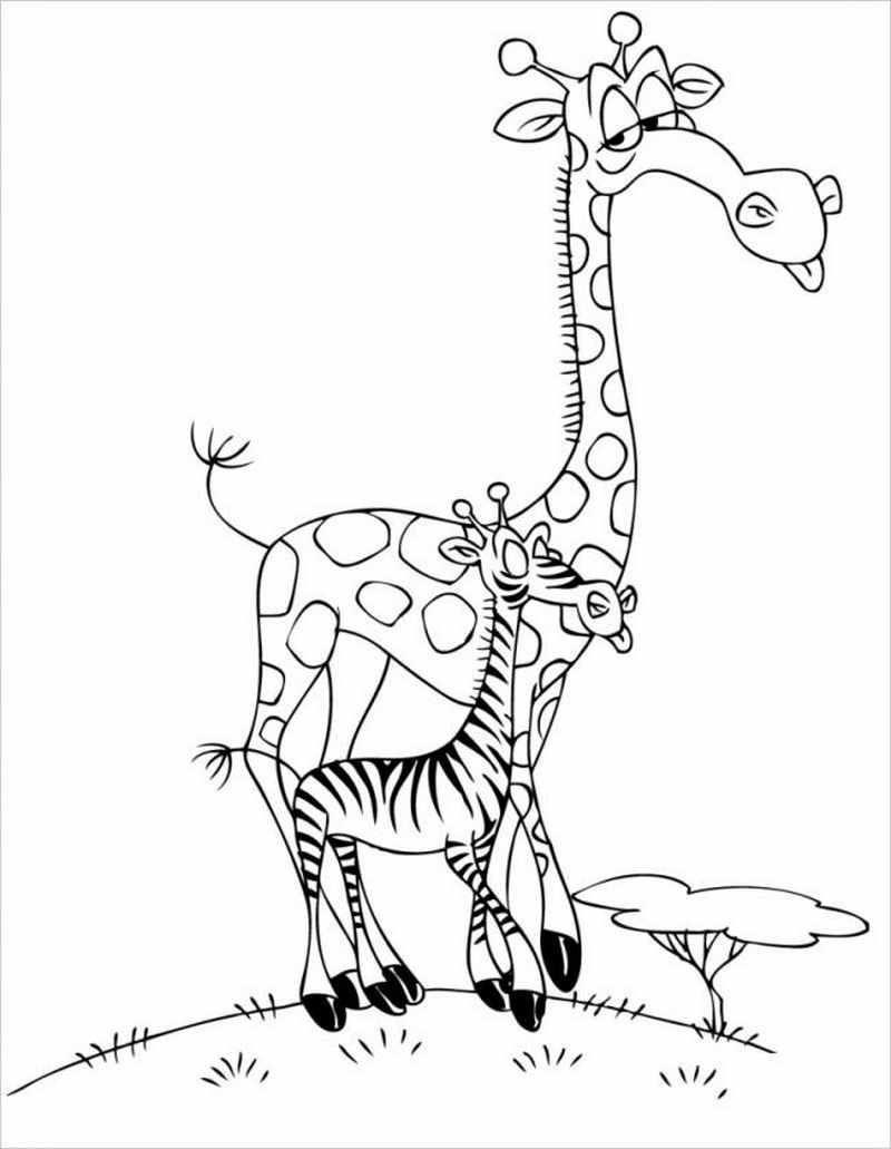 Tranh tô màu hươu cao cổ và ngựa vằn