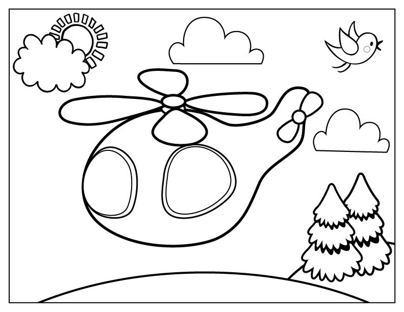 Tranh tô  màu máy bay trực thăng bay trên bầu trời