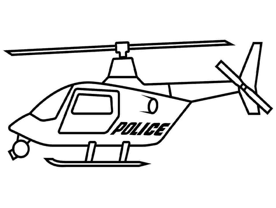 Tranh tô màu máy bay trực thăng cảnh sát