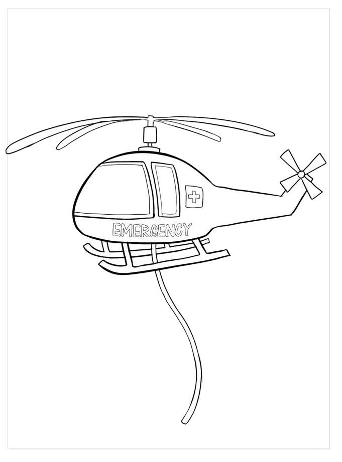 Tranh tô màu máy bay trực thăng cứu hộ đẹp