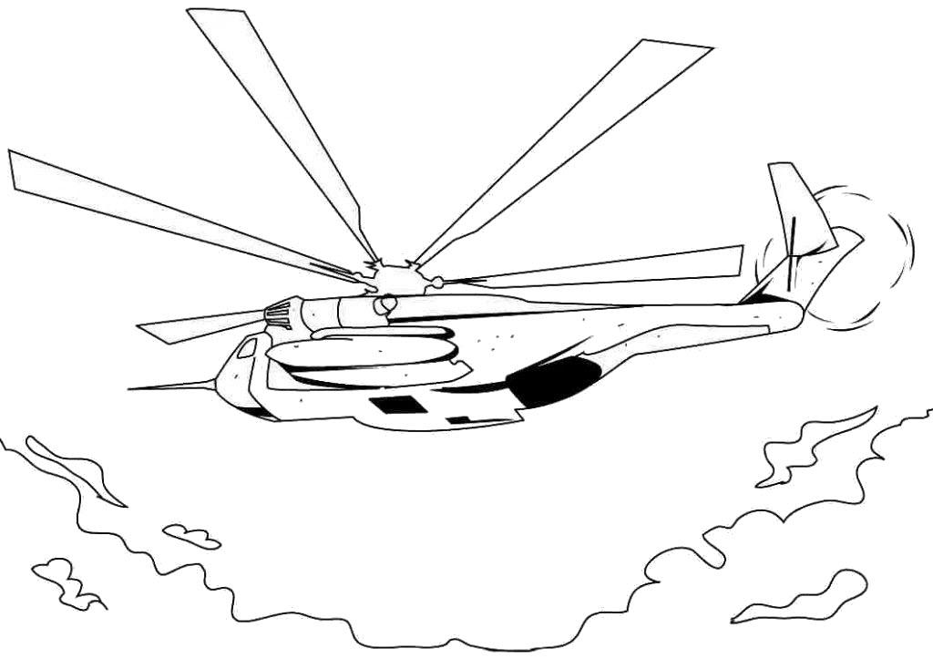 Tranh tô màu máy bay trực thăng đang cất cánh