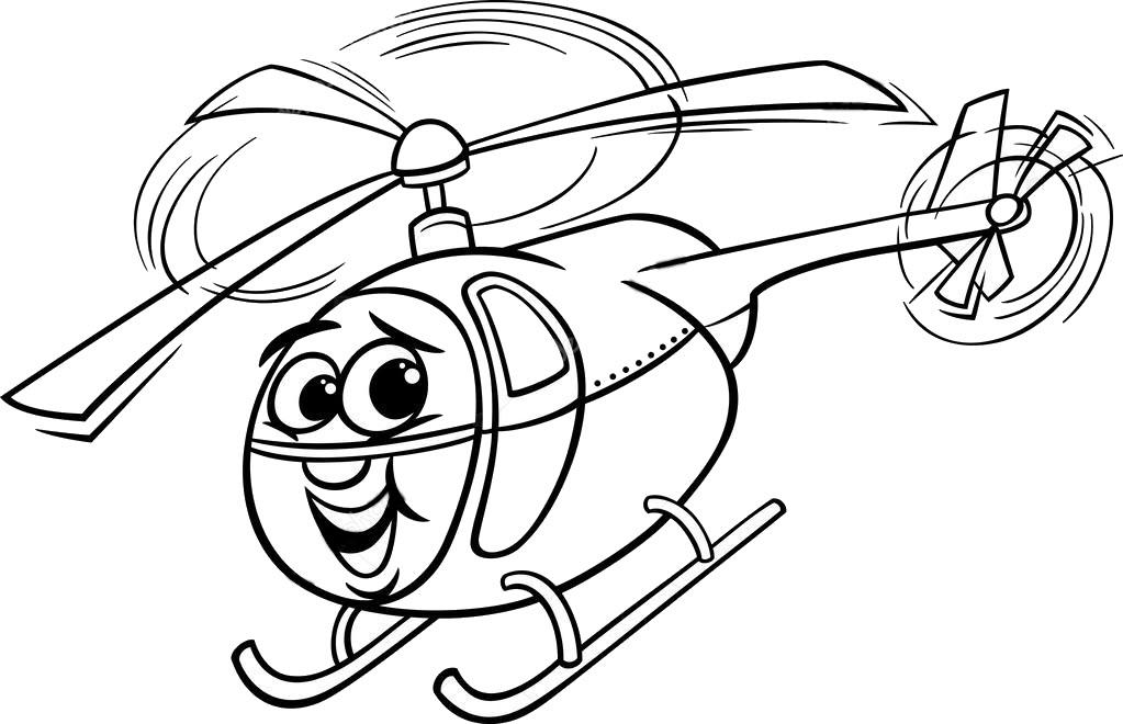 Tranh tô màu máy bay trực thăng đẹp, cute