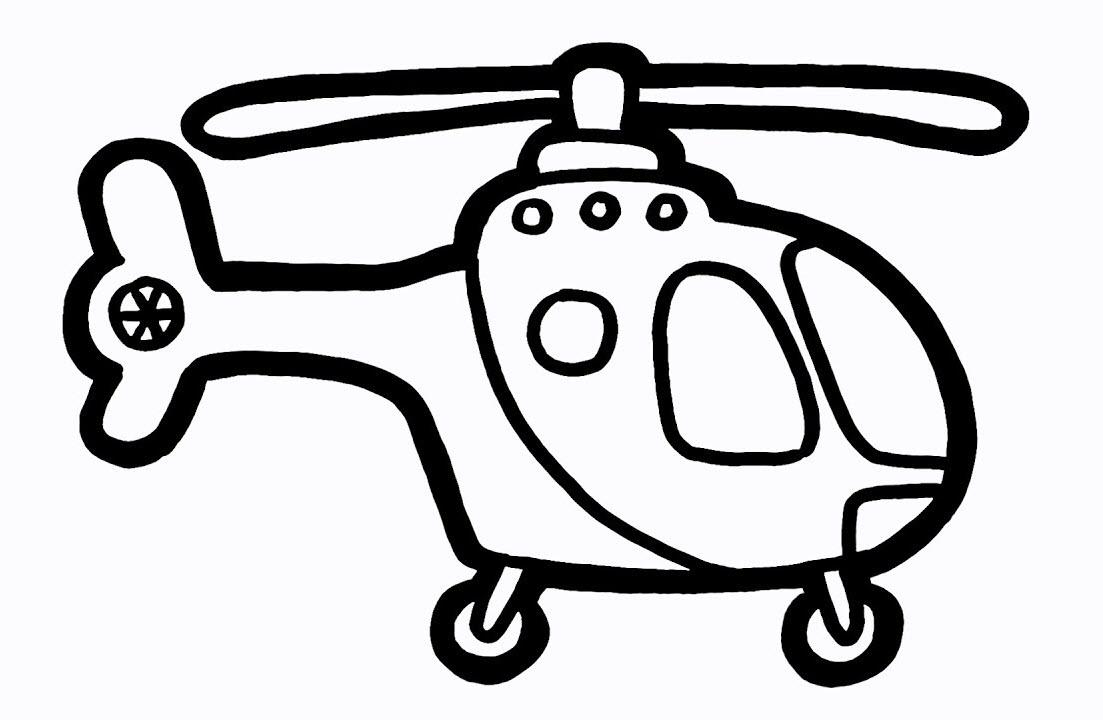 Tranh tô màu máy bay trực thăng đơn giản, sắc nét