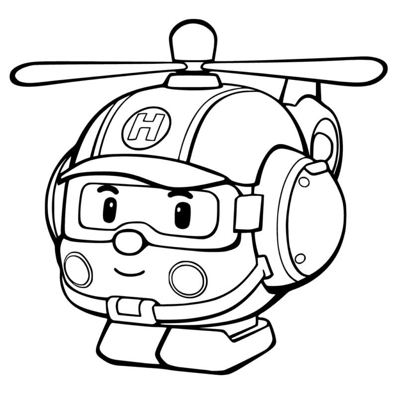 Tranh tô màu máy bay trực thăng hoạt hình dễ thương