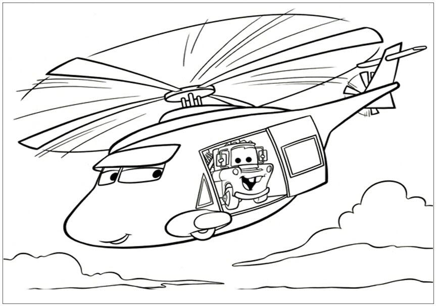 Tranh tô màu máy bay trực thăng hoạt hình đẹp