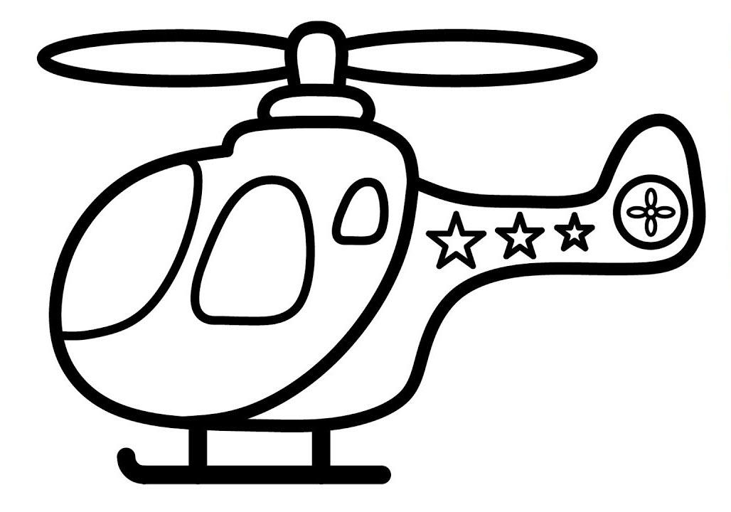 Tranh tô màu máy bay trực thăng hoạt hình