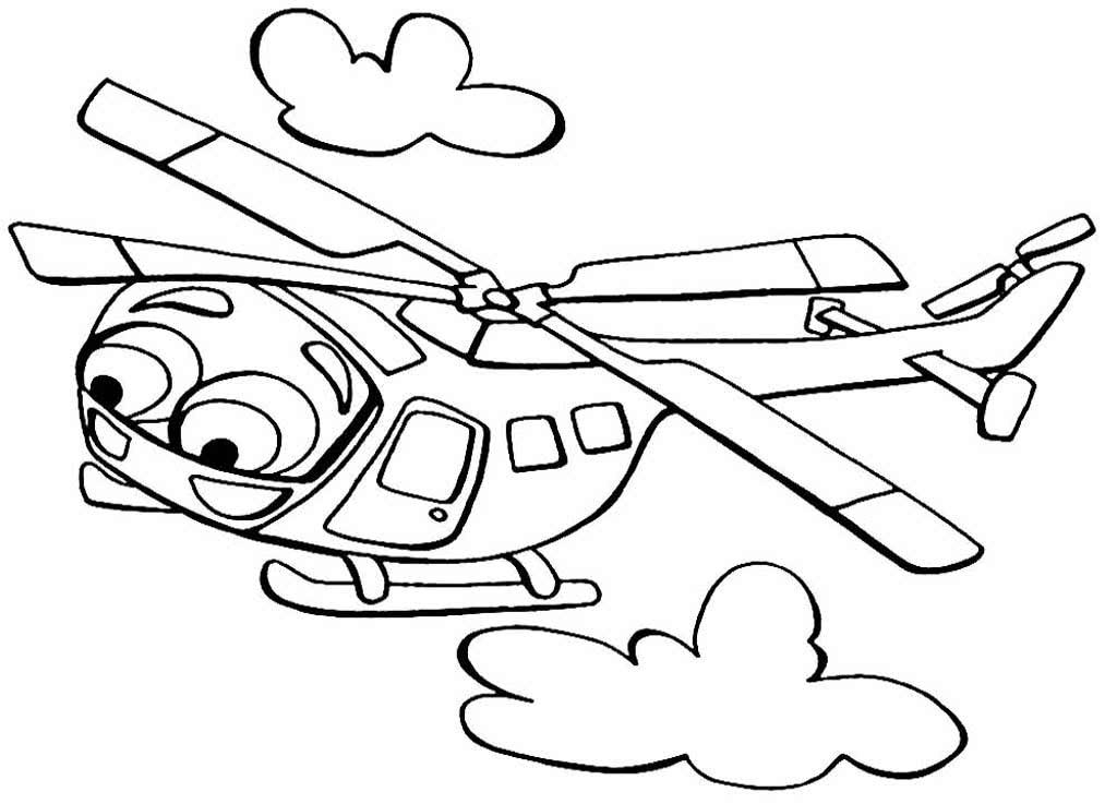 Tranh tô màu máy bay trực thăng ngộ nghĩnh