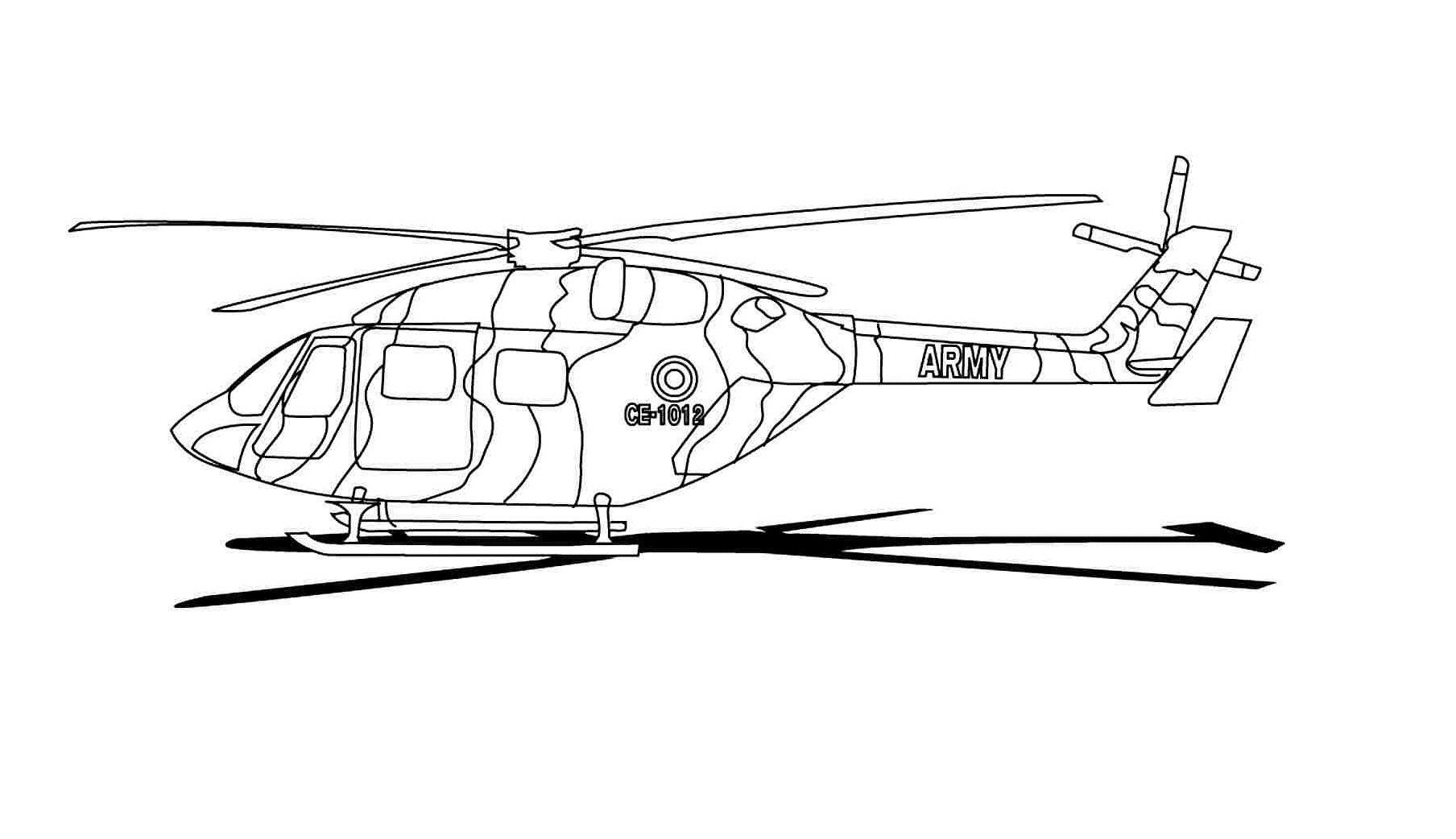Tranh tô màu máy bay trực thăng quân sự đẹp