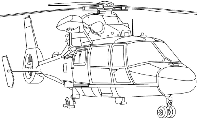 Tranh tô màu máy bay trực thăng quân sự