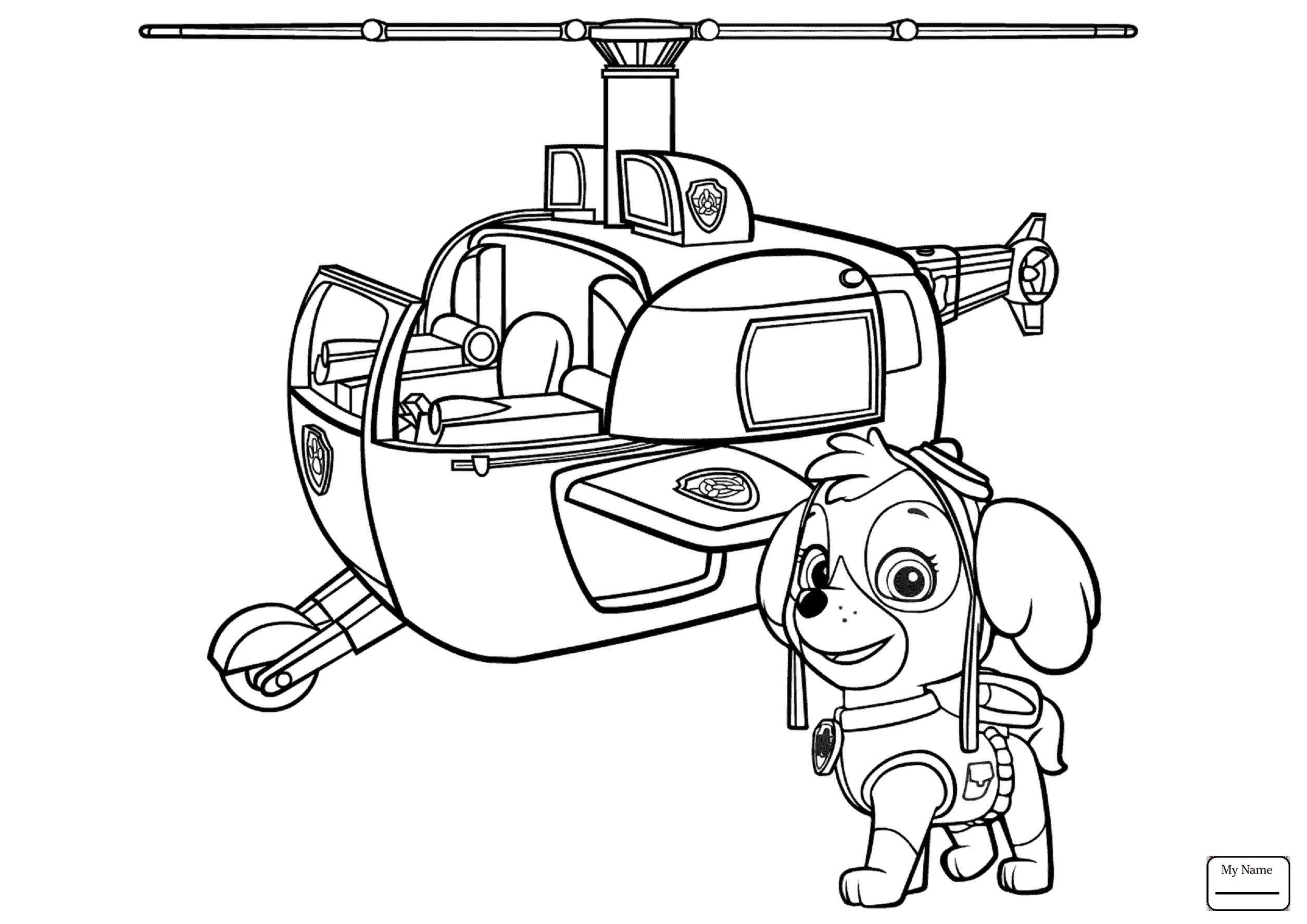 Tranh tô màu máy bay trực thăng và chú chó cứu hộ