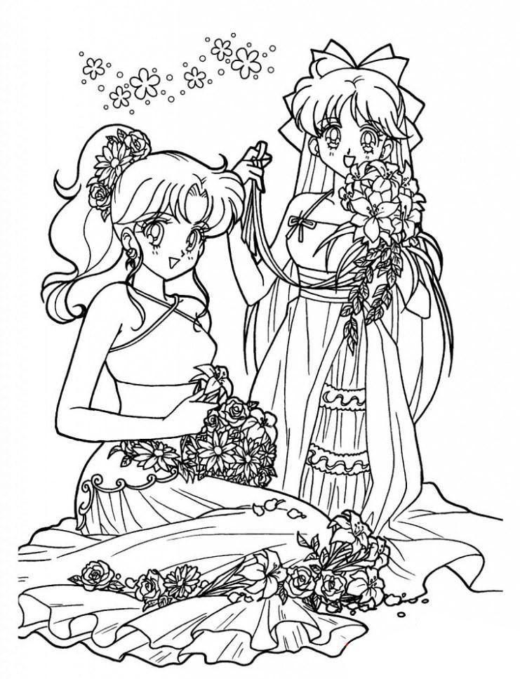 Tranh tô màu nàng công chúa anime cho bé gái