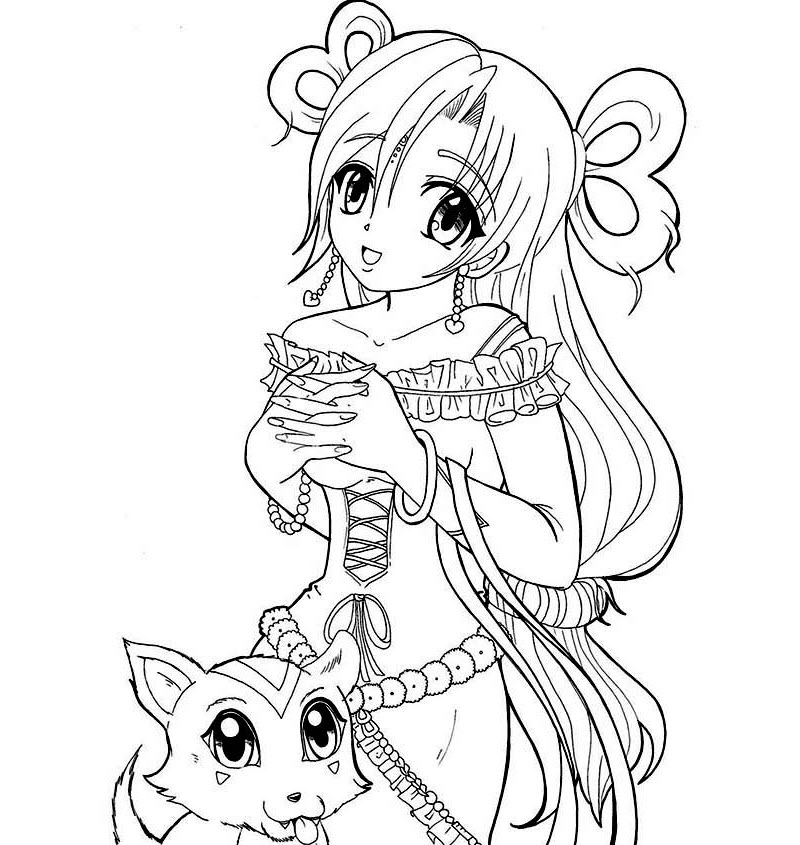 Tranh tô màu nàng công chúa anime và thú cưng