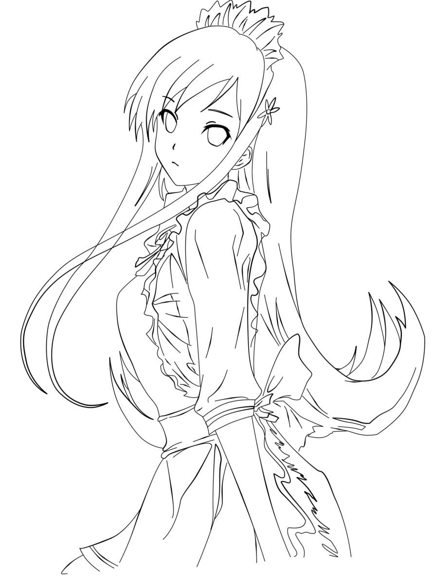 Tranh tô màu nàng công chúa anime xinh đẹp