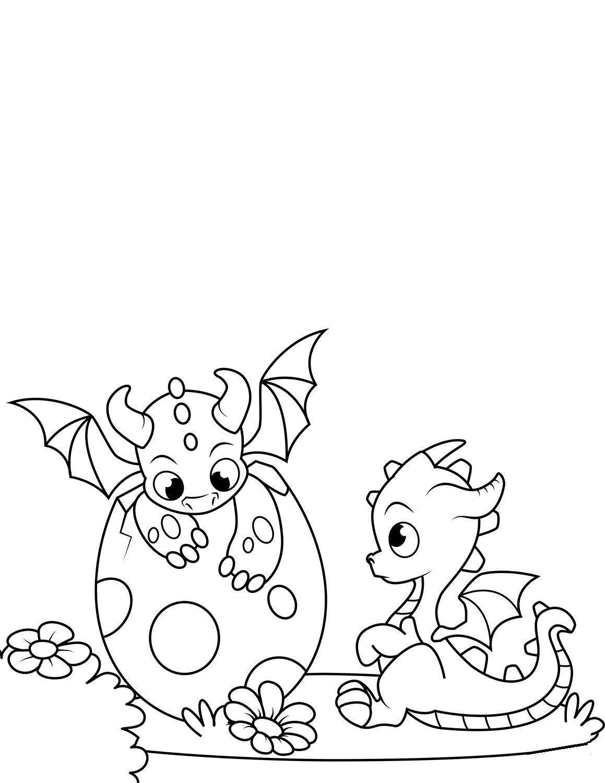 Tranh tô màu những con rồng dễ thương