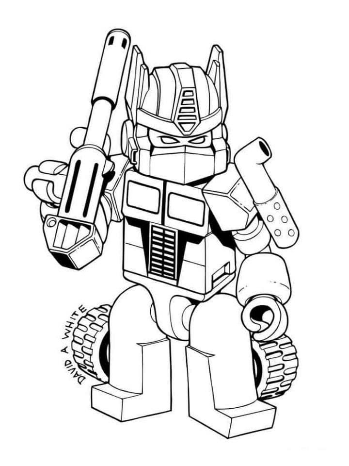 Tranh tô màu Robot biến hình dễ thương