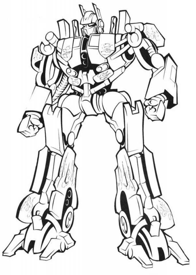 Tranh tô màu Robot biến hình ngầu, đẹp