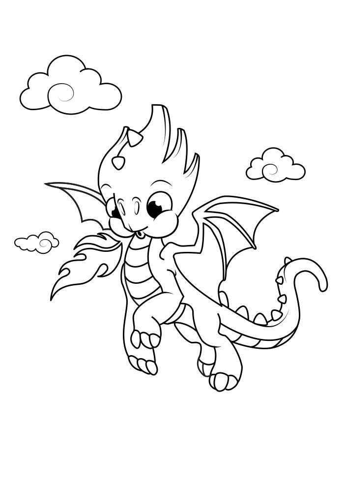 Tranh tô màu rồng con đang bay