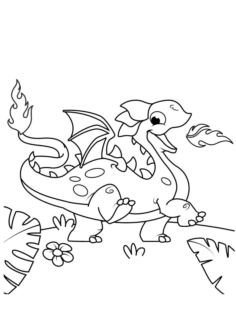 Tranh tô màu rồng lửa baby
