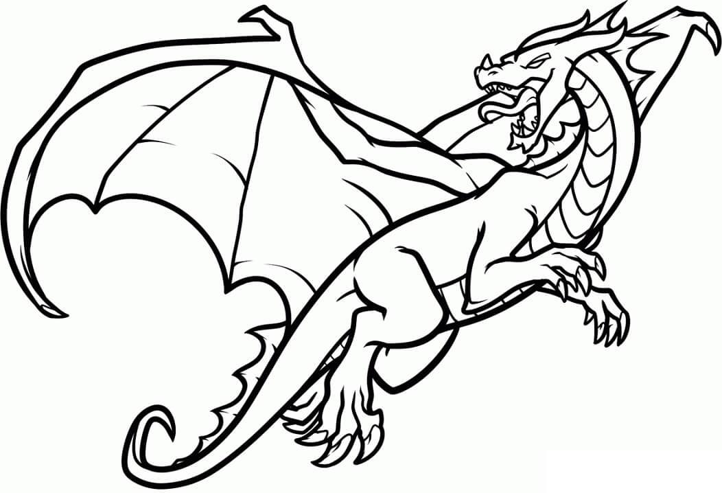 Tranh tô màu rồng lửa đang bay