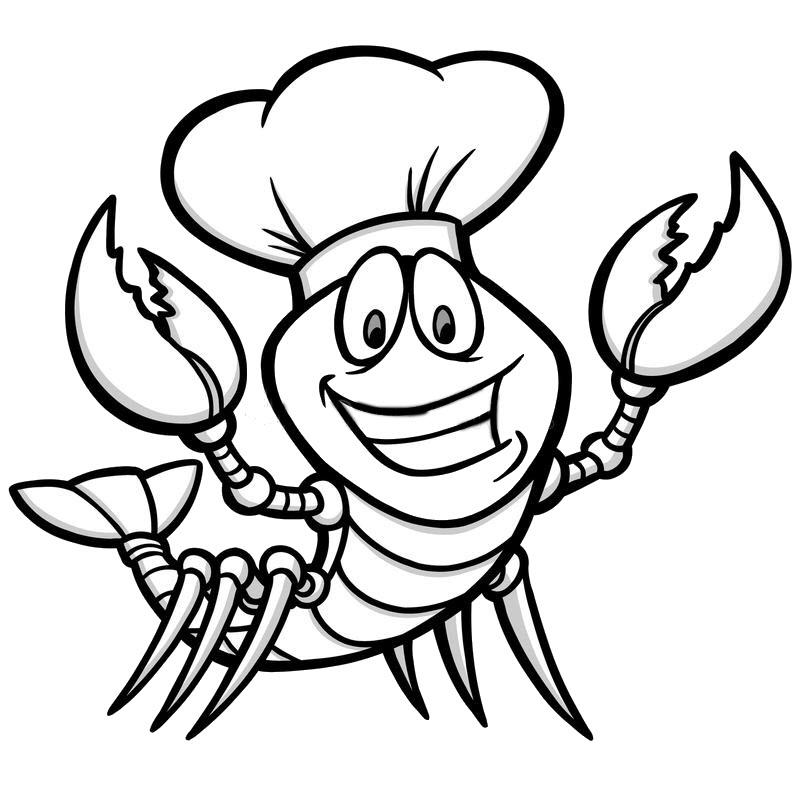 Tranh tô màu tôm hùm đầu bếp