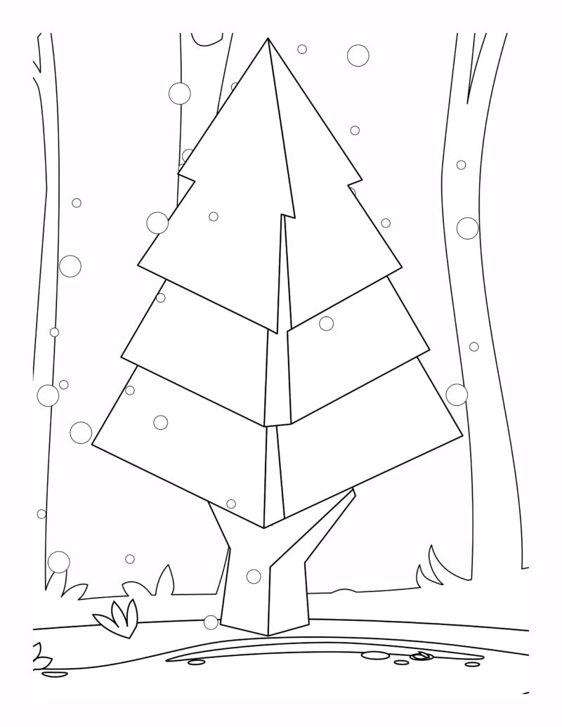 Hình cây thông dễ tô màu cho bé