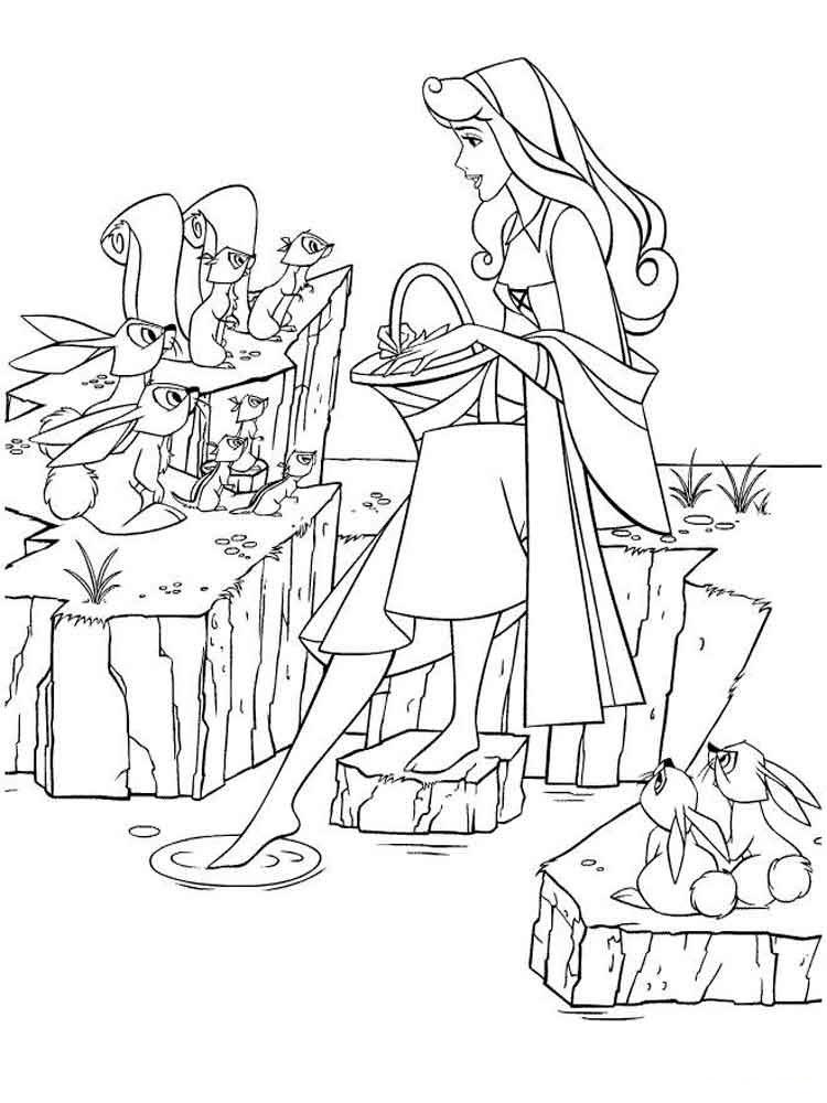 Hình tô màu Aurora - Công chúa ngủ trong rừng và những người bạn hoang dã