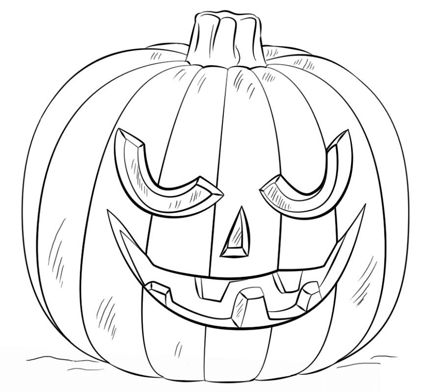 Hình tô màu bí ngô Halloween đẹp, rùng rợn