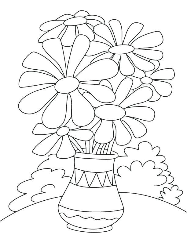 Hình tô màu bình hoa cúc đơn giản