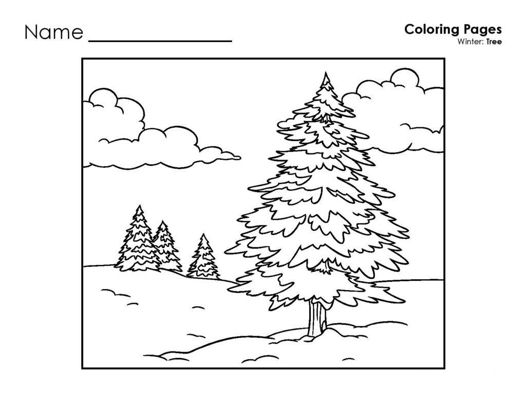 Hình tô màu cây thông cho bé