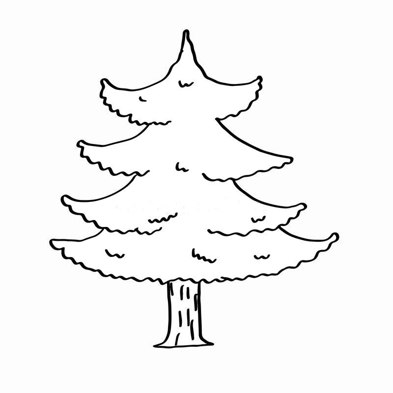 Hình tô màu cây thông dễ thương