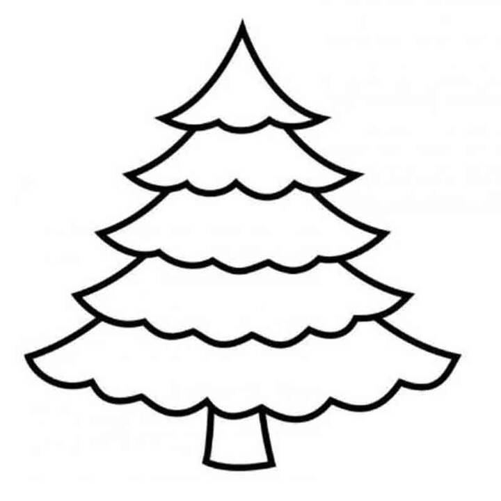 Hình tô màu cây thông đẹp, đơn giản