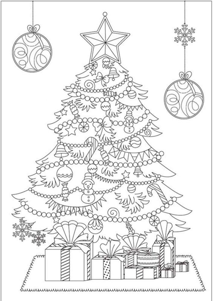 Hình tô màu cây thông Noel cho bé