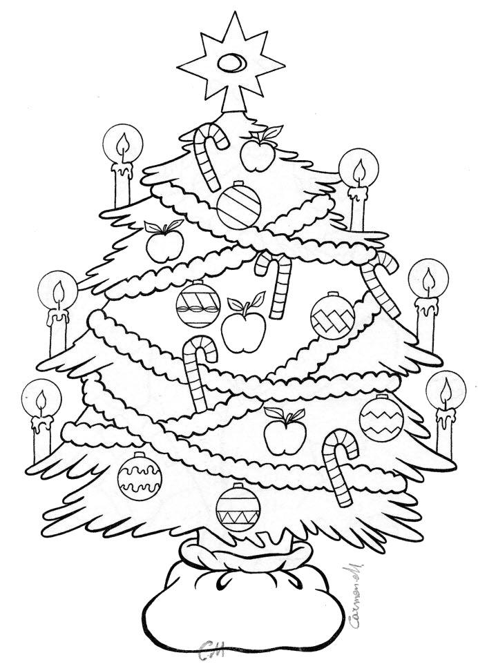 Hình tô màu cây thông Noel cực đẹp
