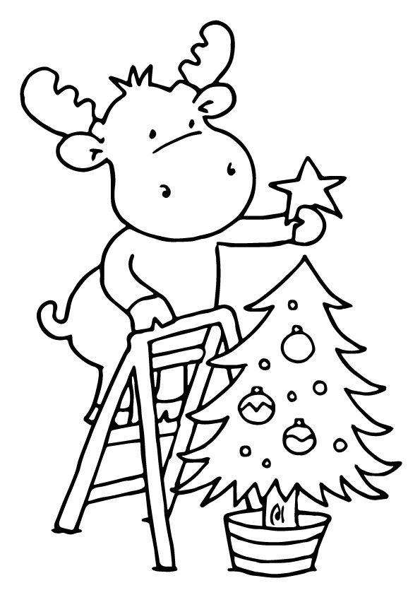 Hình tô màu cây thông Noel ngộ nghĩnh, dễ thương