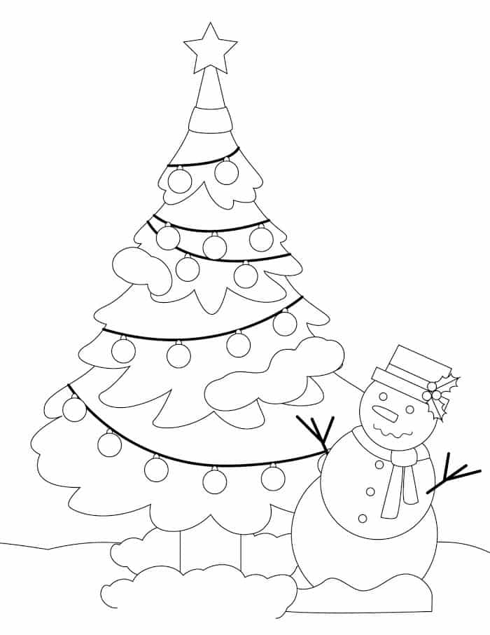 Hình tô màu cây thông Noel ngoài trời