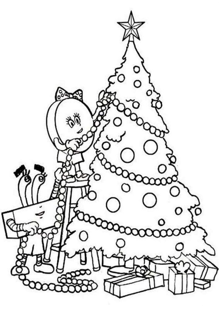 Hình tô màu cây thông Noel trong nhà