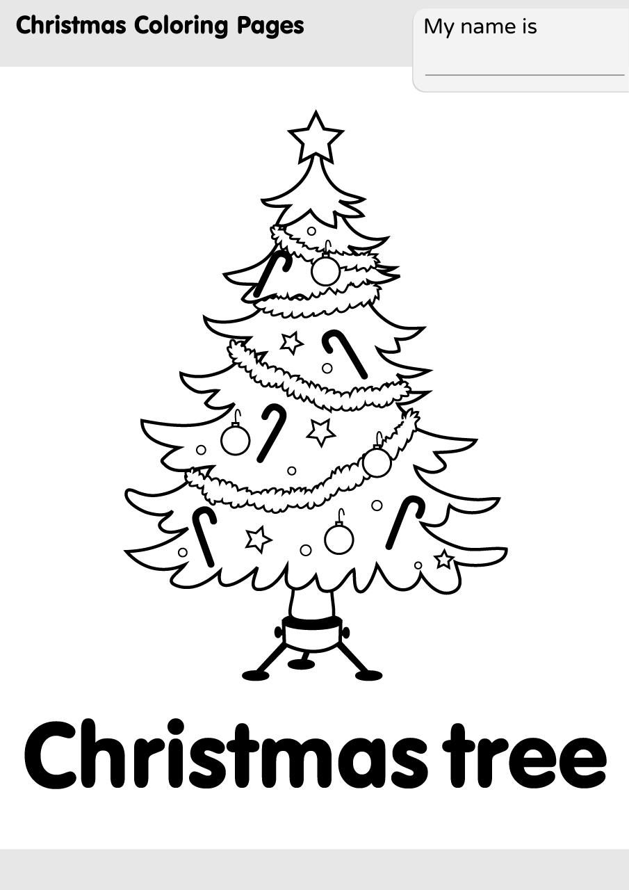 Hình tô màu cây thông Noel