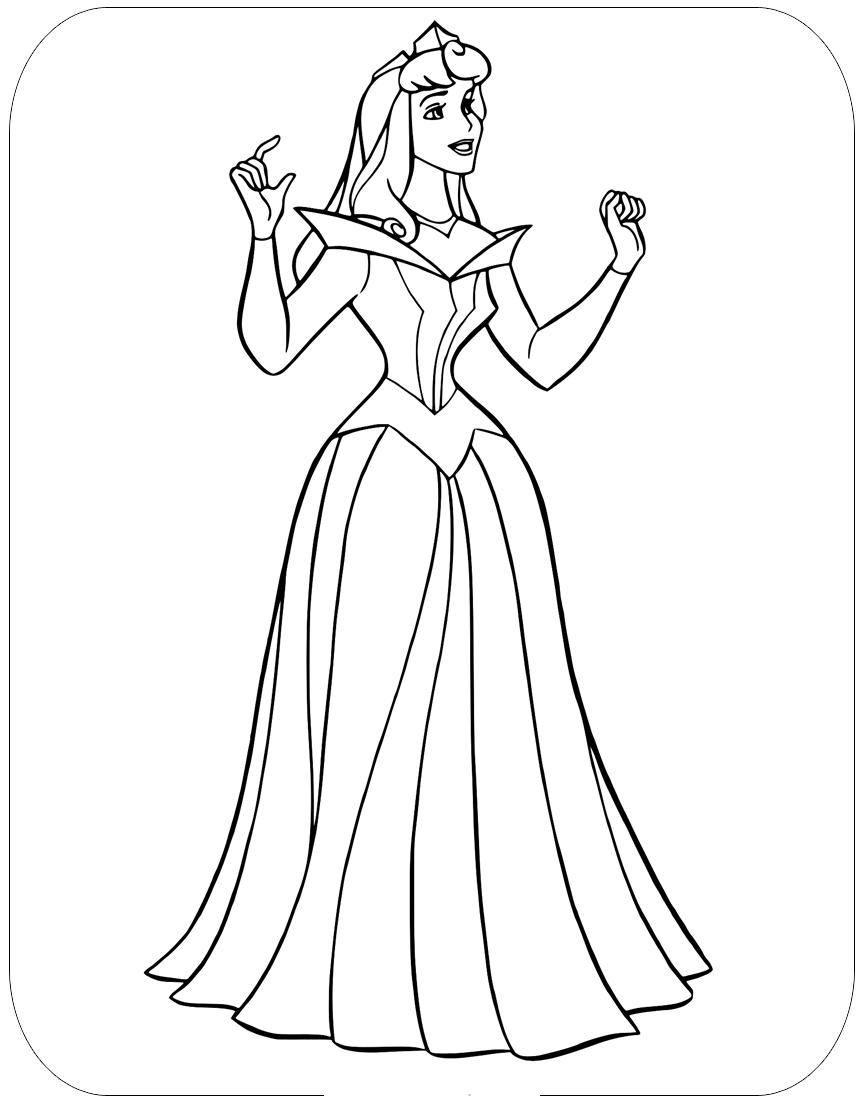 Hình tô màu công chúa Aurora đơn giản