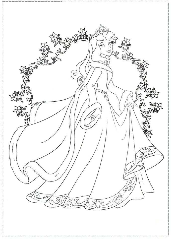 Hình tô màu công chúa Aurora xinh đẹp, lộng lẫy