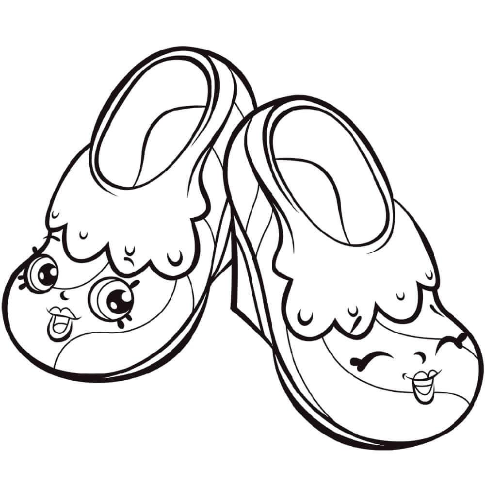 Hình tô màu đôi dép cute