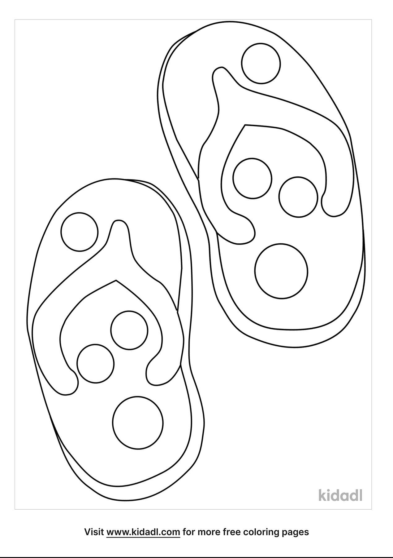 Hình tô màu đôi dép dễ thương
