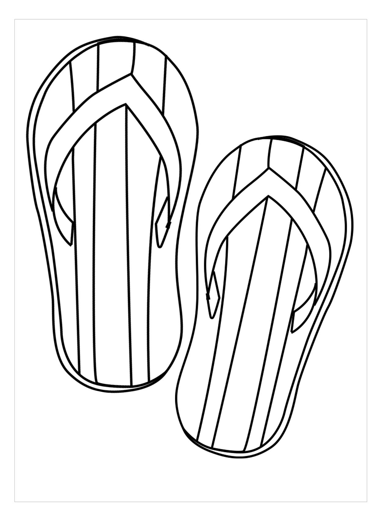 Hình tô màu đôi dép họa tiết đơn giản