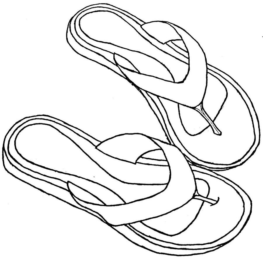 Hình tô màu đôi dép xỏ ngón