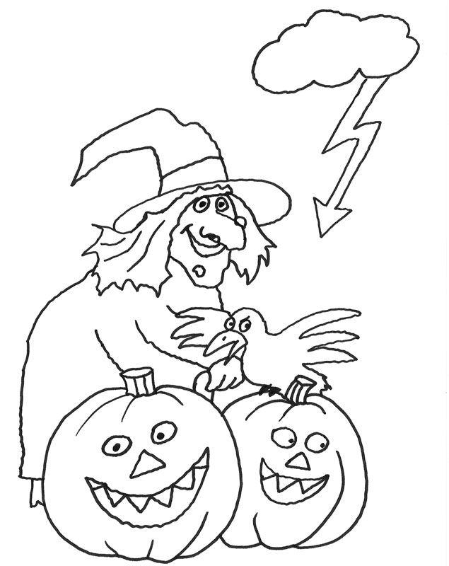 Hình tô màu Halloween đơn giản