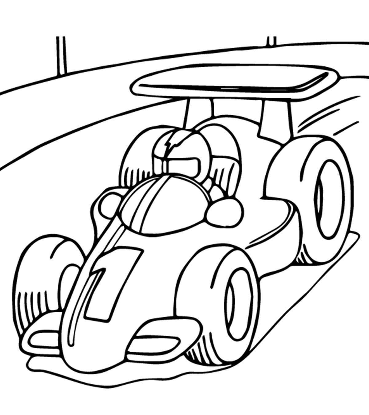 Hình tô màu xe đua đơn giản cho bé
