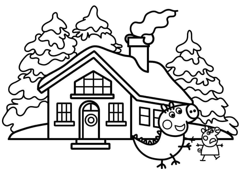 Mẫu tranh tô màu cây thông và ngôi nhà đẹp