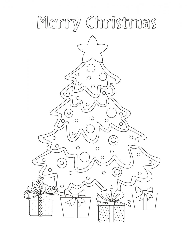 Tranh cây thông Noel cho bé tập tô